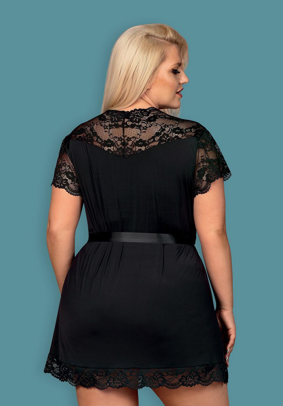 Image de 810-PEI-1 - Elegant Black Lace Robe - XXL