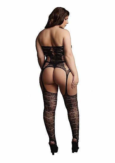 Image de Lace Suspender Bodystocking - Black - OSX