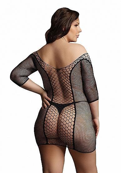 Image de Duo Net Sleeved Mini Dress - Black - OSX