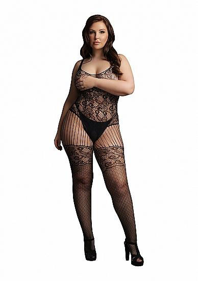 Image de Lace and Fishnet Bodystocking - Black - OSX