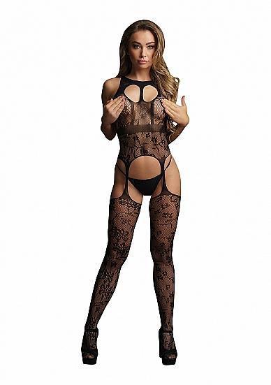 Image de Lace suspender bodystocking with round neck - Black - O/S