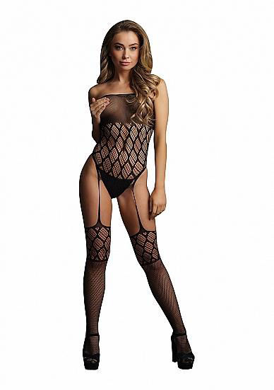 Image de Strapless, crotchless teddy with stockings - Black - O/S